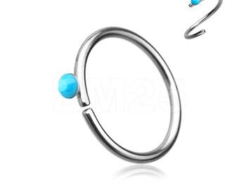 Turquoise Bead Top Bendable Steel Nose Hoop