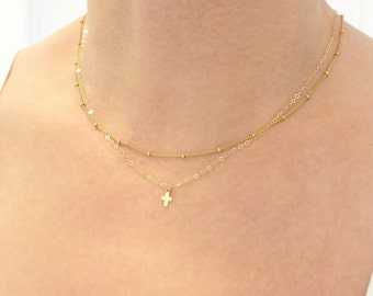 Gold Cross Necklace + Rose Gold Necklace + Satellite Necklace + Gold Layered Necklace + Layered Necklace Gold
