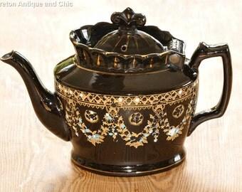 Antique English Jackfield Hand Painted Teapot circa 1889