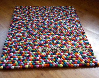 Rectangle Felt Ball Rug  (Free Shipment)
