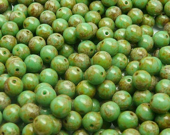 50pcs Czech Pressed Glass Beads Round 6mm Opaque Turquoise Green Travertine