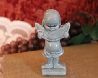 Vintage Blue Boy Eating Melon Ceramic Salt Shaker