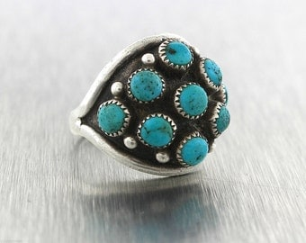 Lovely Ladies CL Mahooty 925 Sterling Silver Turquoise Cabochon Cluster Ring