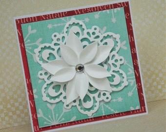 Mini Handmade Christmas Card, Snowflake Card, Christmas Blue Card.