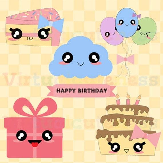 Kawaii Birthday Clipart Cute Bday Clip Art Planner Digital