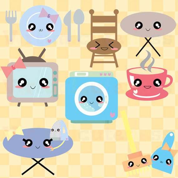 appliances clip art kawaii clipart chibi house clipart
