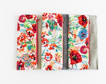 Linen Foldover Clutch | Floral and Gray Linen Clutch | s/f Designs