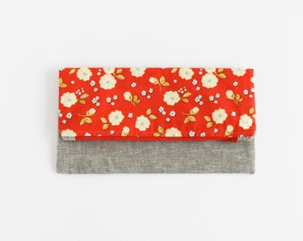 Orange Floral and Gray Linen Fold-Over Clutch   s/f Designs