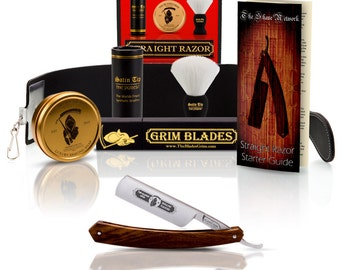The Blade's Grim Straight Razor In Exotic Rosewood Scales and Luxury Kit