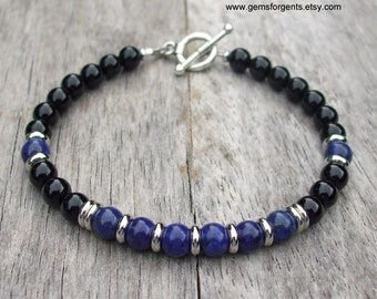Blue Lapis Lazuli and Black Onyx, Mens Beaded Bracelet, Mens Jewelry – B49