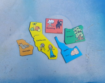 80s Game, State Shaped Game Pieces,  Vintage Game Pieces,  State to State Game,  Georgia, California, Wyoming, Idaho, Oregon