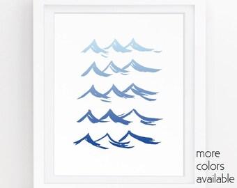 Wave art, Ocean waves, Beach print, Nautical art, Blue wall art, Beach Bathroom decor,Modern art,Painting,Printable, 5x7, 8x10 & 11x14, 224b