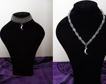 Chainmaille choker or necklace with 3D moon chain (european 4 in 1 and harvest moon)