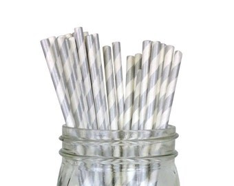 Striped Party Paper Straws 25pcs Silver SPS250043 Just Artifacts Brand