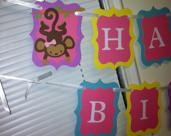 Monkey birthday banner