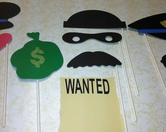 Cops and Robbers photo prop sticks, police prop sticks, burglar prop sticks, photo prop sticks