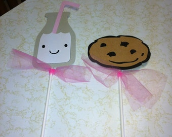 Milk and cookie centerpiece sticks