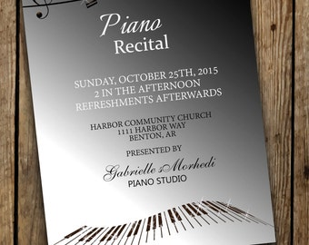 Piano Recital Invitations, Recital Invitation, Music Recital Invitations