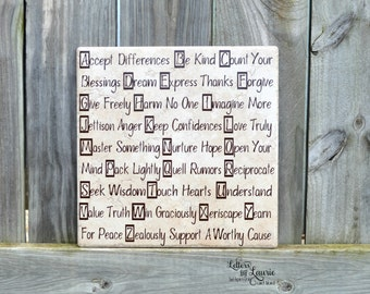 Unique Wedding Gift, ABC's of Life, Friendship Gift, Inspirational Gift, Girlfriend Gift, Family Gift, Wedding Gift