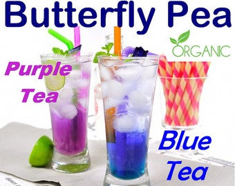 Dried Blue Butterfly Pea Flowers, Magical Color-Changing Tea/Cocktails, Thai Herbal Blue Tea, Tea bags, Powder, 100% Organic