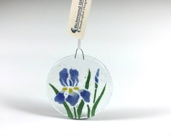 Iris Ornament, fused glass