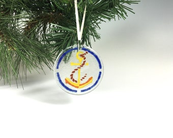 Anchor Ornament Fused Glass