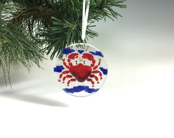 Crab Ornament Fused Glass