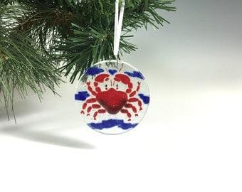 Crab Ornament, Fused Glass, Seashore Ornament, Sun Catcher, Crabs