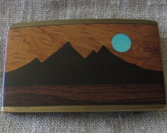 70s Kenneth Reid Belt Buckle Wood Southwest Mountains Turquoise Moon