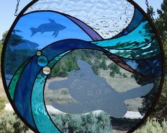 "stained glass window panel""MULEGE' BAY"" sand carving, hand blown antique glass,glass nuggets, stained glass sun catcher,sandblasted turtle"