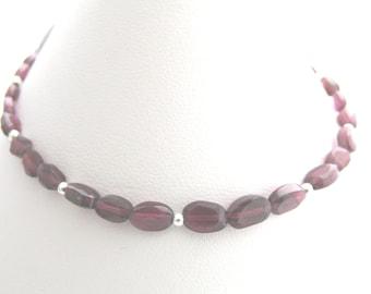 Sterling silver garnet bracelet- birthstone bracelet- January birthstone bracelet