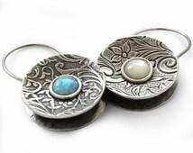Opal silver Earrings, Pearl floral sterling silver, hoop round earrings, Mother of pearl and opal earrings, silver hoops, floral earrings