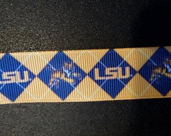 "7/8"" LSU Tigers Inspired Grosgrain Ribbon"