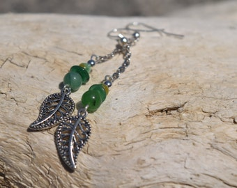 Green Leaf Earrings - Leaf Earrings - Green Earrings - Nature Earrings