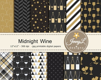 Wine Digital Papers, Wine Glass, Wine Bottle New Year for Digital scrapbooking, invitations, birthday, wedding, planner