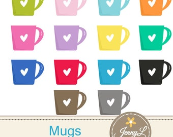 Coffee Mugs Clipart for Planners, Digital Scrapbooking, Invitations, cupcake toppers, Stickers, Labels