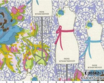 SALE Yard Cut Paris Apartment by Bari J for Lucien Blue Rose Flowers with Mannequins on Purple Background 30342 −110