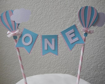 Hot Air Balloon Cake Topper  Birthday  Bunting - Cake Topper Paper straw