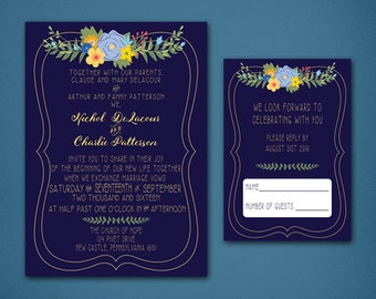 Floral Wedding Invitations • Wedding Response Card • Shabby Chic Wedding Invitations • Summer Wedding • Floral • Shabby Chic • Navy and Gold