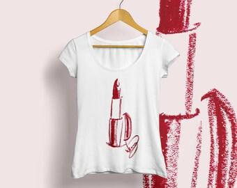 Lipstick tee, Makeup T-shirt, Lipstick T-shirt, Makeup tee, Makeup illustration, Womens tee, Girly tee, Girly T-shirt, Makeup artist tee