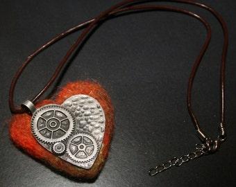 Steampunk Inspired Felt heart Pendant/Necklace