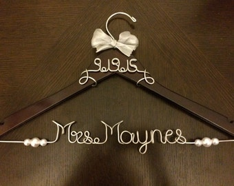 Personalized Wedding Hanger With Date wrapped on top. Pearls and ribbon included!
