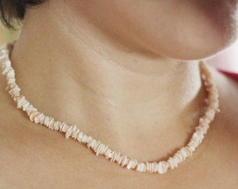 rose coral necklace, rose corals, vintage 1980ies coral jewelry
