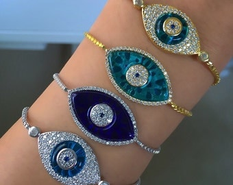 925 Sterling silver 18k gold plated evil eye, nazar bracelets