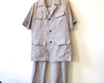 Vintage  Cavalry Club suit, Colonial jacket, men's 60s 70s, Kramer suit, grey fleck suit, poly/linen blend, Men's 40R 216/133