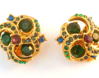 Vintage Sphinx Green Rhinestone Layered Clip On Earrings.