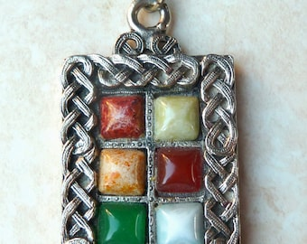 Vintage Large Celtic Knot work And Mock GemstonePendant And Necklace.