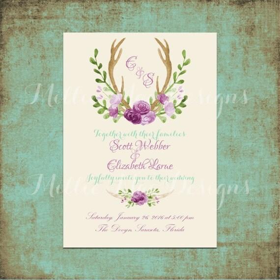 Custom Rustic Wedding Invitations: Custom Rustic Antler Wedding Invitation