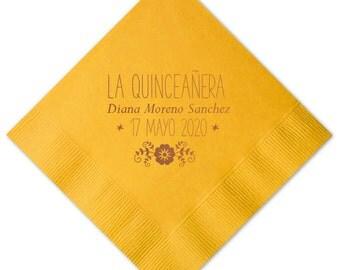 La Quinceañera Personalized Napkins - Set of 100 - Custom Printed Napkins, Foil Stamped Napkins, Party Favors, Birthday