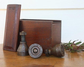 Vintage screw-jacks in old timber storage box Industrial Vintage